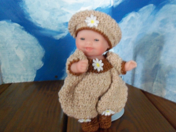 5 in. Berenguer Doll in a Brown Romper Outfit