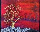 Fiber Art Quilt Contemporary Landscape, Embellished and Thread Painted