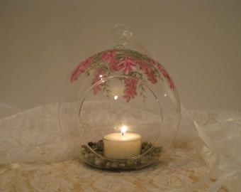 Burgundy Wisteria Tealight Glass Hanging Globe