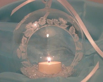 White Pearl Floral Handpainted Glass Hanging Globe