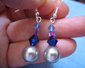 Grey glass pearls with colored glass accents