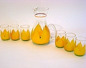 Juice Pitcher & (6) Glasses-Hand Painted Set - Lovely Summer item