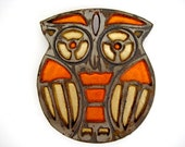 1970s Wise ole Owl Trivet-everyone had one of these-classic style