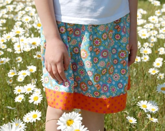 girls skirt butterflies dragonflies flowers age 3 to 4 years, pink blue orange yellow