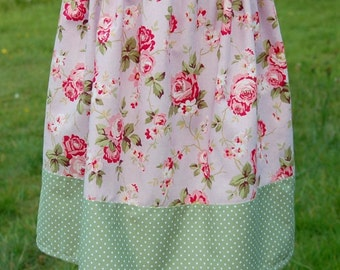 cottage chic roses girls skirt age 6 to 7 lilac pink sage green polka dots