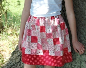 floral patchwork girls skirt age 5 to 6 years, red and white polka dots, flowers