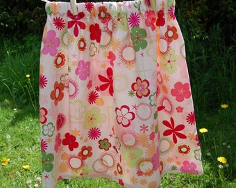 pink flower skirt girls age 10 years, dusky pink, green, apricot, tan