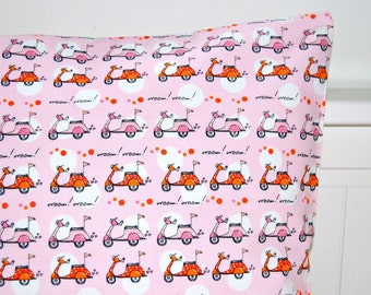 girls pink cushion cover , vespa scooter pillow cover 16 inch
