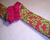 Camera Strap Cover with Triple Ruffle and Roses : Hot Pink and Lime Green with Dior Roses