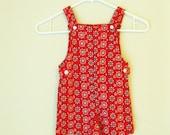R E S E R V E D Vintage Red White and Blue 1960s Toddlers Overalls Unisex (4T)