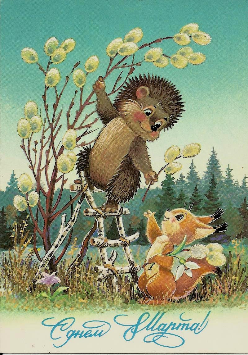 Good Morning Greetings In Russian : Squirrel and hedgehog vintage russian postcard ussr