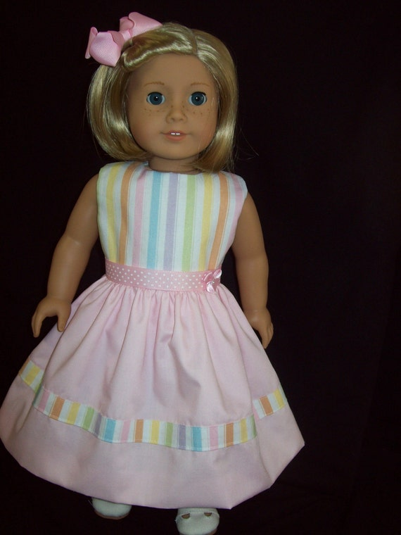 American Girl Doll Clothes 18 inch doll dress made from a multi-colored striped  fabric