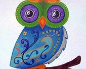 Owl Baby Wall Art / Child Wall Art Owl Nursery Painting (not a print) - Whimsical Owl