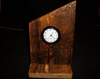 barn wood clock desk