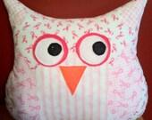 Brenda the Breast Cancer Survivor Owl pillow friend