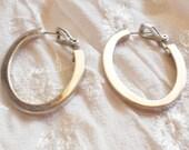 Bohemian Silver Tone Oval Hoop Earrings