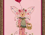 Beary Faery - Original Pressed Flower Fairy Art - OOAK  Fantasy