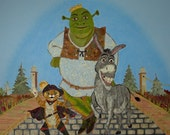 Disney - Shrek Puss Donkey - Original Fairytale Fantasy Art - Dreamworks - OOAK Keepsake Treasure