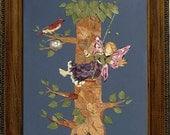 Original OOAK Flower Fairy Art - Imagine Magic - Fairy Swing - Real Flower Blossom Framed Art
