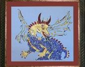 Dragon Transformation - Flower Fantasy Art - Dragon Medicine - OOAK Original Framed Art
