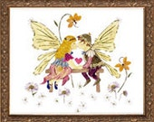 Childhood Sweethearts - Children's Fairy Art - Fantasy Flower OOAK Design- Faery Wings - Lovers Kiss