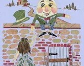 Humpty Dumpty Children's Fairy Tale Art - Imagine Magic - Original Pressed Flower Design - 11 x 14 Fine Art Print