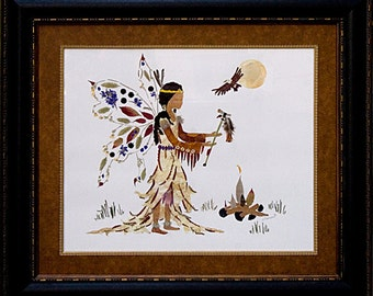 """Spiritual Fairy Art - """"Messenger of Peace"""" made with Real Pressed Flowers"""