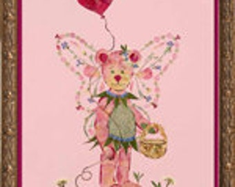 "Original Pressed Flower Fairy Art - ""Beary Faery"" Fantasy Design made with REAL Flower Petals"