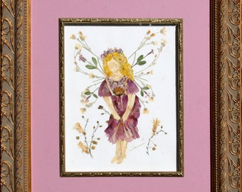 """Original OOAK Flower Faery Art - """"Fairy of Forgiveness"""" made with REAL Pressed Flowers"""