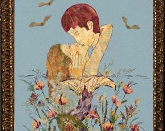 Kissed by a Mermaid - LOVE IS - Mermaid Art Decor - Original Real Flower Fantasy Art