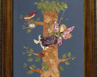 "Original OOAK Flower Fairy Art - ""Let Love Grow"" Design with REAL Pressed Flower Petals"