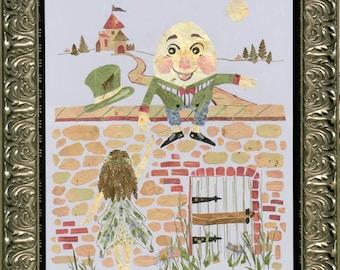 "Fantasy Fairy Children's Wall Decor - ""Humpty Dumpty"" Original REAL Pressed Flower Art"