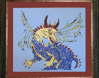Dragon Fantasy Framed Art made with REAL Pressed Flowers - Magical Transformation Design