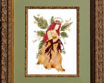 """Magical """"Fairy of Peace"""" Flower Art - REAL Pressed Flower Fantasy Design"""