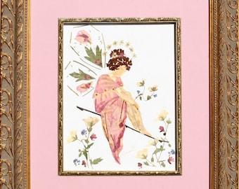 Pressed Flower Fairy of Mercy - Fantasy Faery Blossom Design - REAL Flower Petal Art
