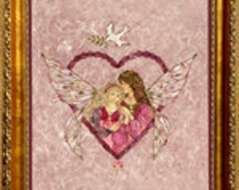 """Fairy Flower Art - """"Wings of Love"""" Mother Daughter Heart Design made with Real Flowers"""