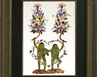 "Fantasy Frog Art - ""Twin Flames"" OOAK Original Design made with REAL Flowers"