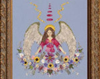 Angel of Abundance & Prosperity - OOAK Real Flower Art - Original Heavenly Design - Spiritual Angel Wings