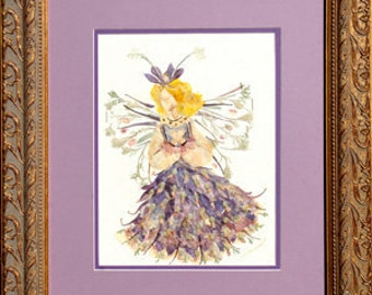 """Fantasy Fairy Flower Art - Magical """"Woodland Faery"""" made with REAL Pressed Flower Petals"""
