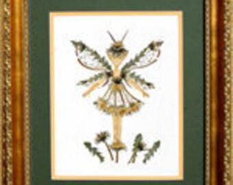 "Original Pressed Flower ""Dandelion Faery"" - Woodland Sprite made with REAL Flowers"
