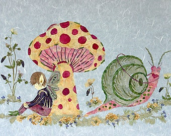 Under the Toadstool - Children's Fantasy Art - Original Fairy Design - Make-Believe 8x10 Giclee Print