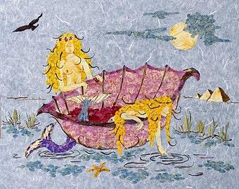 Waiting for Pharoah - Mermaid Fantasy Art - 8 x 10 Fine Art Giclee Print