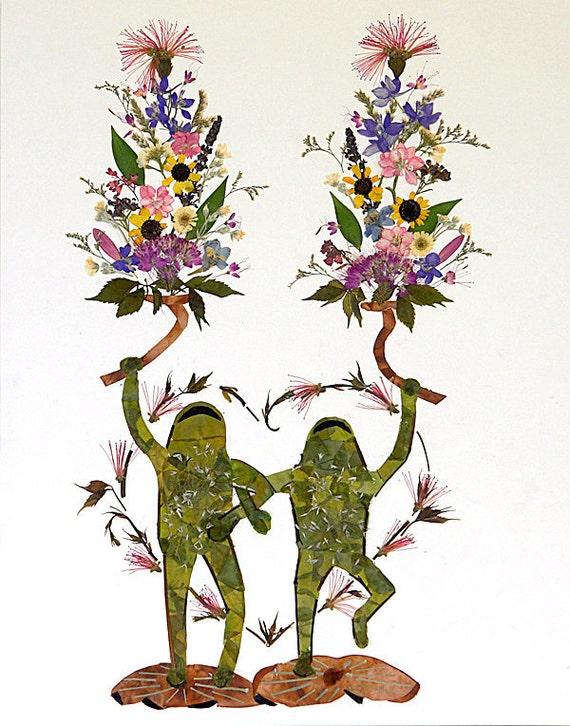 Twin Flames - Fantasy Frog Flower Art - 13 x 18 Fine Art Giclee Print - Magic