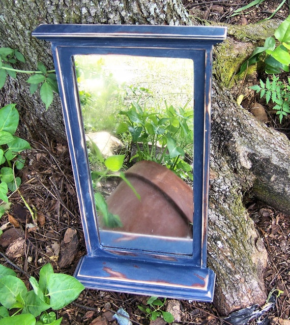 RESERVED RACHEL  Colonial Blue Distressed Wood  Mirror Rustic Farm French Country Home