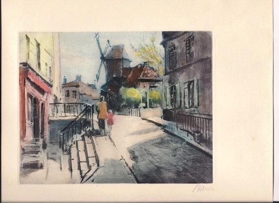 SALE Paul Baum Watercolor Signed  Print Windmill Scene Home Decor Dutch Amsterdam Holland