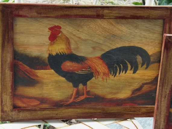 Reserved Patricia Set 2 French Roosters Aleaxandra Churchill Roosters On Wood French Country Cottage Roosters