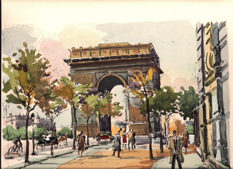 Sale Paris Arc De Triomphe Watercolor By Stoppercountrystore