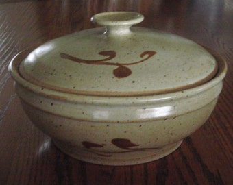 Tan Casserole Dish with golden brown trim