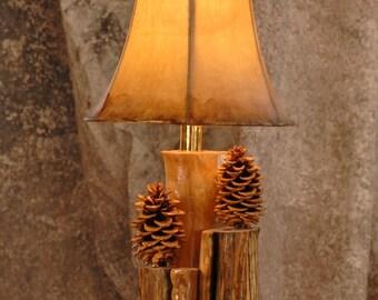 Aspen, and pinecone 2 bulb lamp - Rustic lamp - Rustic decor - Hurricane lamp