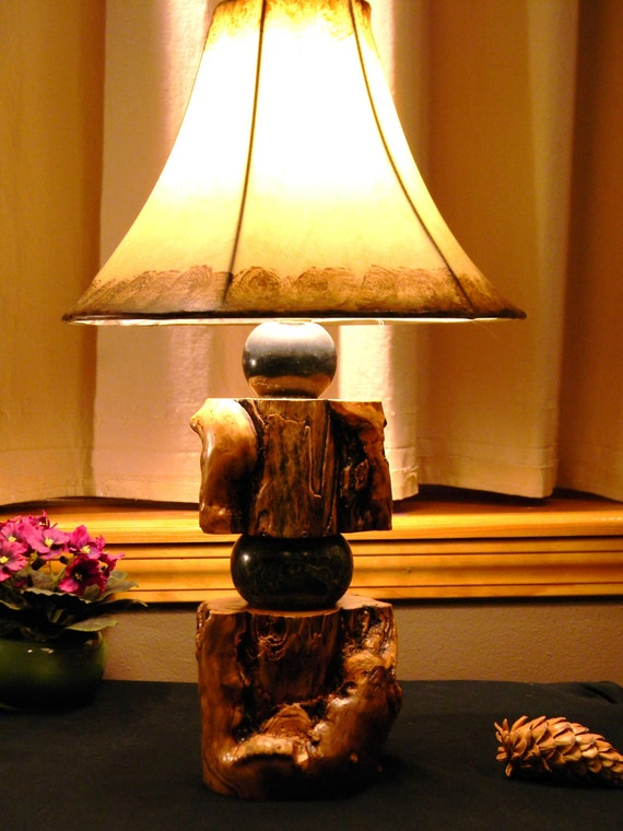 Aspen and marble lamp
